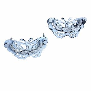 Vintage Antique Butterfly Drawer Pulls Distressed